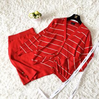 シャネル(CHANEL)の美品 CHANEL シャネル ニット 刺繍 コットン ロングカーディガン スーツ(スーツ)