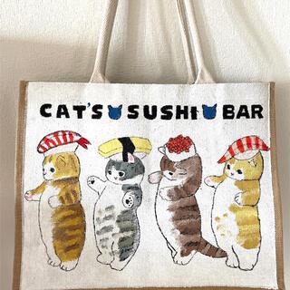 ムジルシリョウヒン(MUJI (無印良品))の手書き絵画 防水 猫ねこ キャット 無印良品 ジュートマイバッグ 麻トートバッグ(トートバッグ)