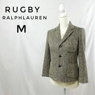 ラルフローレン(Ralph Lauren)の希少 RUGBY テーラードジャケット M ツイード ヘリンボーン ウール 白黒(テーラードジャケット)