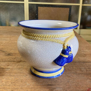 陶器鉢カバータッセルイエローブルーラインスペイン(プランター)