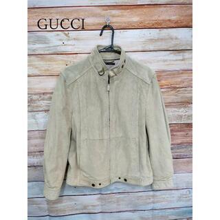 グッチ(Gucci)のGUCCI メンズ スエード ライダースジャケット カーキ 48(M相当)(レザージャケット)