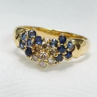 ジュエリーマキ - K18 サファイアとダイヤモンドのフラワーリング