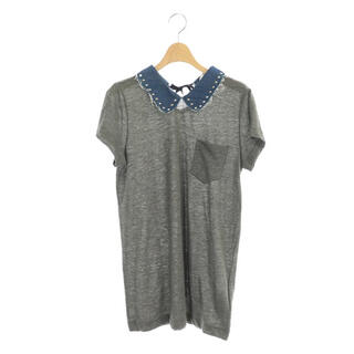 sacai luck - サカイラック リネン デニム襟スタッズ付 Tシャツ カットソー 半袖 3 グレー