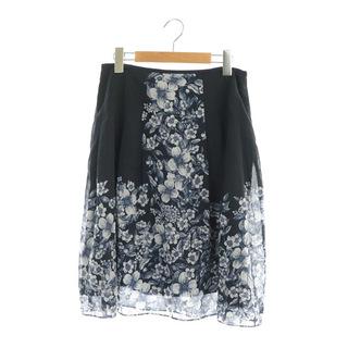 ローラアシュレイ(LAURA ASHLEY)のローラアシュレイ 花柄フレアスカート ロング 切替 11 紺 ネイビー(ロングスカート)