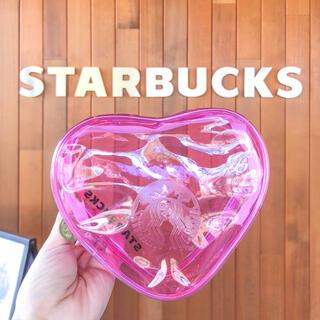 Starbucks Coffee - スターバックス バレンタイン ハートポーチ ビニール クリアポーチ ピンク