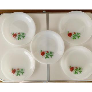 アルコパル ミルクガラス 皿5枚セット バラ アンティーク(食器)