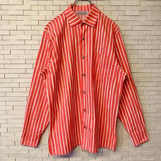マリメッコ(marimekko)のマリメッコ ヨカポイカ 長袖シャツ ストライプ ピンク・ホワイト フィンランド製(シャツ)
