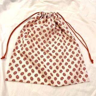 ペイズリー柄 大きめ巾着 縦42横39 ハート バッグインバッグ 着替え 袋(外出用品)