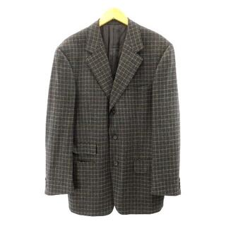 グッチ(Gucci)のグッチ GUCCI ウールジャケット チェック ウール グレー ブラウン 48(テーラードジャケット)