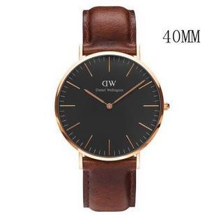 ダニエルウェリントン(Daniel Wellington)のダニエルウェリントン新品ピンクゴールド×ブラウン40MMレザー(腕時計(アナログ))