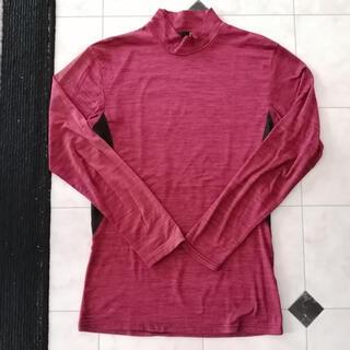 中古 メンズ 長袖 インナー 杢柄 ハイネック アンダーウェア レッド Mサイズ(Tシャツ/カットソー(七分/長袖))