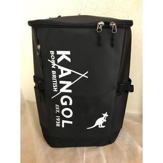 KANGOL - KANGOL  スクエアリュック250-1270  ブラック/ホワイトロゴ