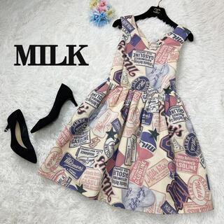 ミルク(MILK)の美品♡MILK ミルク 総柄 デザイン ワンピース 看板(ミニワンピース)