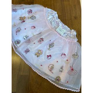 mezzo piano - 新品タグ付き メゾピアノ  オーガンジー  くま刺繍 スカート  130
