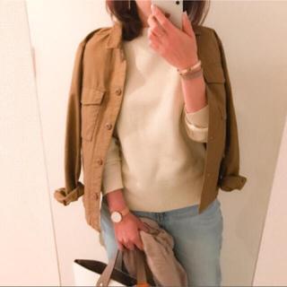 ユニクロ(UNIQLO)のユニクロ ミリタリーシャツジャケット ブラウン M(ミリタリージャケット)
