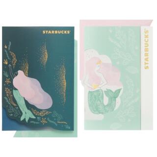 スターバックスコーヒー(Starbucks Coffee)のスターバックス ビバレッジカード 2種類 2分 ♡ サイレン ピンク 送料込み(フード/ドリンク券)