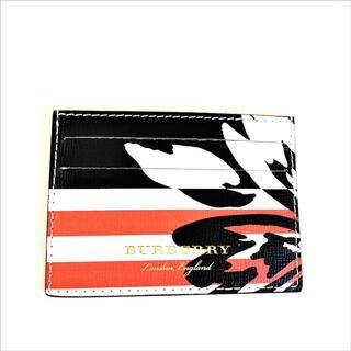 バーバリー(BURBERRY)のバーバリー メンズ カードケース 40691061 黒 赤 水色 ボーダー (名刺入れ/定期入れ)