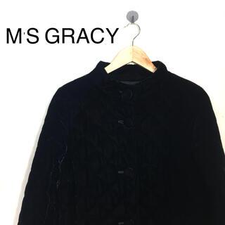 エムズグレイシー(M'S GRACY)のB294 M'S GRACYエムズグレイシー キルティングベロアジャケットコート(ノーカラージャケット)