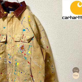 carhartt - 一点物 リメイク カーハート ダック ジャケット 中綿 ペイント ダメージ加工