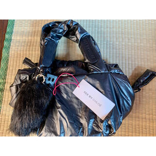 シーバイクロエ(SEE BY CHLOE)のシーバイクロエ ハンドバック ナイロン シルバーブラック 黒(ハンドバッグ)