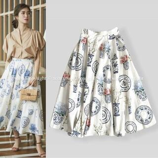 ドゥロワー(Drawer)の2021 SEVEN TEN by MIHO KAWAHITOプリント スカート(ひざ丈スカート)