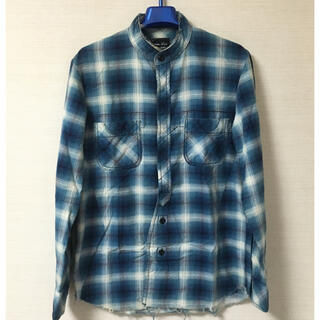 ナンバーナイン(NUMBER (N)INE)の08AW ナンバーナイン チェック ネルシャツ ブルー ダメージ加工 スタンド(シャツ)