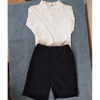 ミキハウス(mikihouse)のmikihouseミキハウス 長袖ポロシャツ白·ズボン黒 110cm上下2点(ドレス/フォーマル)
