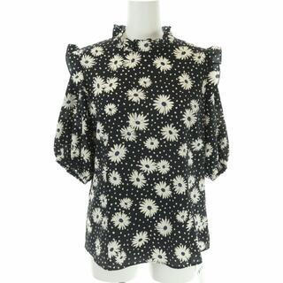 IENA SLOBE - イエナ スローブ ブラウス カットソー 半袖 フリル 花柄 マーガレット  黒