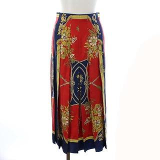 グッチ(Gucci)のグッチ 18SS スカート スカーフ柄 シルク ロング フレア 36 S 紺 赤(ロングスカート)