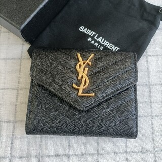 サンローラン(Saint Laurent)のサンローラン 三つ折り財布 黒(折り財布)