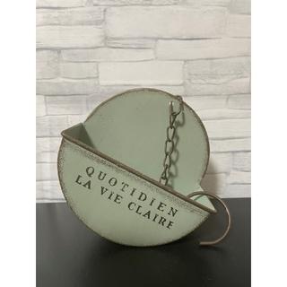 246 ミントグリーン ハンギング ブリキ ロゴ 植木鉢 プランター ヴィンテー(プランター)