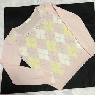 ロディスポット(LODISPOTTO)のロディスポット 首もとのリボン飾りが可愛いピンクセーター(ニット/セーター)