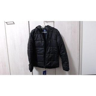 ジーユー(GU)のNAVY フードジャケット ブラック(ダウンジャケット)