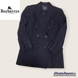 バーバリー(BURBERRY)のバーバリーズ ダブルテーラードジャケット ストライプ ネイビー 40(テーラードジャケット)
