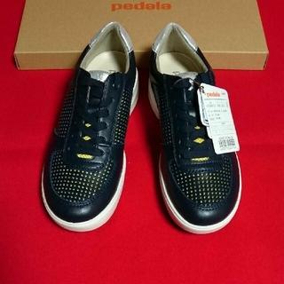 アシックス(asics)の新品 アシックス  靴 ウォーキングシューズ ペダラ 天然皮革 2E 紺 日本製(ウォーキング)
