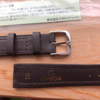オメガ(OMEGA)の新品未使用 オメガ純正革ベルト 紳士カーフ焦茶色16ミリ 銀色尾錠 送料込(レザーベルト)