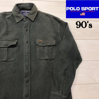 ポロラルフローレン(POLO RALPH LAUREN)の90s POLO SPORT 長袖 ワークシャツ 厚手 ポロスポーツ 古着 M(シャツ)