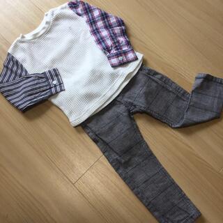 プティマイン(petit main)の(美品)⑥petit mainTシャツ&CLASSICパンツセット 95~100(パンツ/スパッツ)