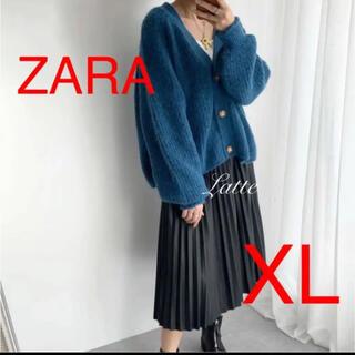 ザラ(ZARA)のZARA 裏編ニットカーディガン Vネックカーディガン XL ブルー 完売(カーディガン)