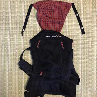 ファミリア(familiar)のアップリカ ファミリア コラボ 限定 おんぶ紐 抱っこ紐 3way 黒 赤 (抱っこひも/おんぶひも)