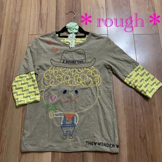 rough - 【rough】ラフくんの刺繍が可愛い7分袖 Tシャツ