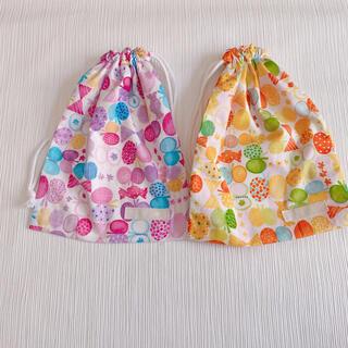 巾着セット 女の子 給食袋 リボンちょうちょ オレンジ 紫(外出用品)