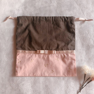 【handmade】巾着袋S リボン(外出用品)