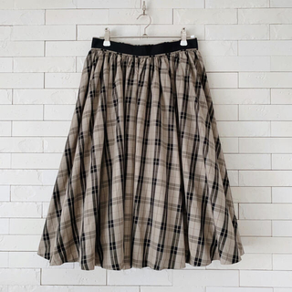 デイシー(deicy)の♡デイシー チェックスカート  フレアスカート 膝丈 ベージュ系♡(ひざ丈スカート)