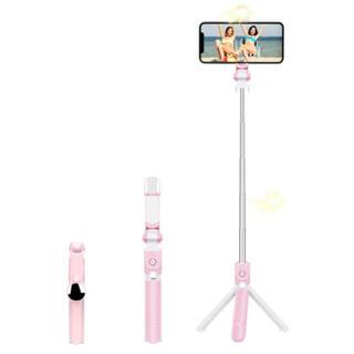 自撮り棒 ライト付き ピンク iPhone セルカ棒 三脚(自撮り棒)