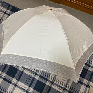 ランバンオンブルー(LANVIN en Bleu)の新品未使用 ランバンオンブルー パラソル 折りたたみオフホワイトuv99%(傘)