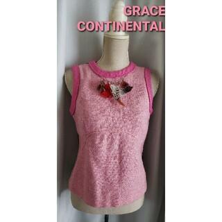 グレースコンチネンタル(GRACE CONTINENTAL)の大変美品 グレースコンチネンタル×ハリスツィード 可愛いウールブラウス (2)(シャツ/ブラウス(半袖/袖なし))