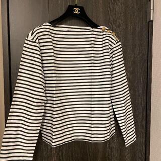 アパルトモンドゥーズィエムクラス(L'Appartement DEUXIEME CLASSE)のWhim Gazette 肩金ボタン ボーダー ボートネック ロングTシャツ(Tシャツ(長袖/七分))