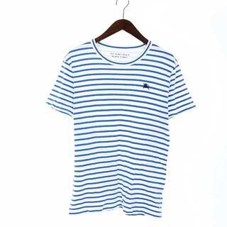 バーバリーブラックレーベル(BURBERRY BLACK LABEL)のバーバリーブラックレーベル Tシャツ カットソー コットン 半袖 3 L 青 白(Tシャツ/カットソー(半袖/袖なし))