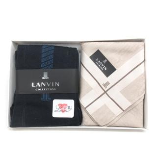 ランバン(LANVIN)のランバンコレクション ハンカチ クルーソックス 靴下 セット ECR9(ハンカチ)